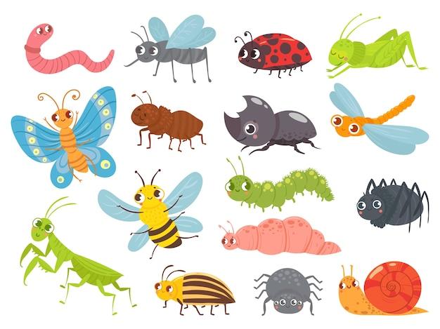 Insectos de dibujos animados lindo. oruga y mariposa divertidas, insectos de niños, mosquitos y arañas
