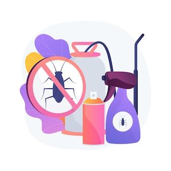 Los insectos plaga domésticos controlan la ilustración del concepto abstracto. control de plagas de insectos, servicio de exterminador de alimañas, equipo de trips de insectos, solución de bricolaje, protección del jardín doméstico