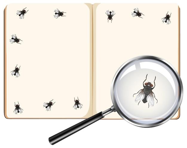 Insectos voladores en las páginas del libro en blanco con lupa aislado sobre fondo blanco.
