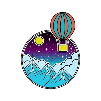 Insignia de air ballon in the night monoline