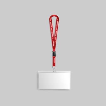 Insignia ancha blanca en blanco o tarjeta de visita de identificación con cinta roja maqueta realista 3d sobre fondo neutro. plantilla de etiqueta de presentación de identificación.