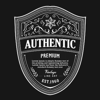 Insignia antigua etiqueta tipografía marco vintage