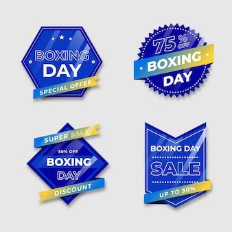 Insignia azul con tonos de cinta degradados del día de boxeo