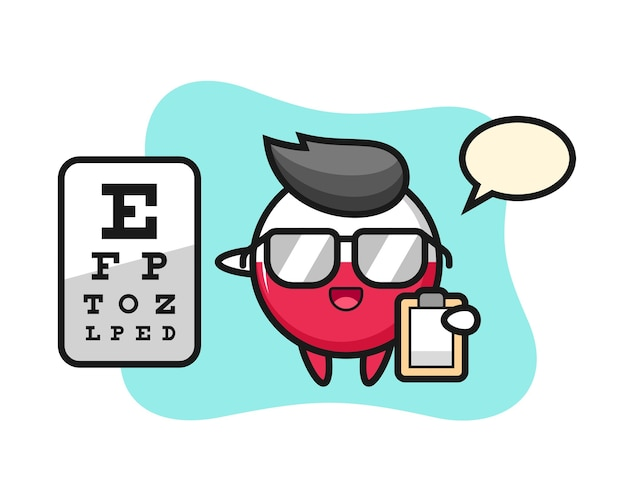 Insignia de la bandera de polonia mascota como oftalmología