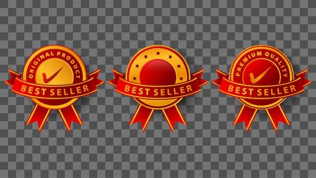 Insignia de best seller con elegantes cintas doradas y rojas