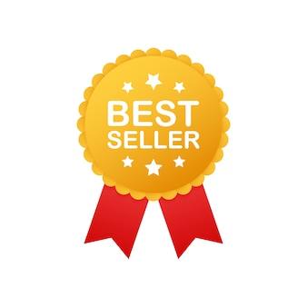 Insignia de best seller. etiqueta de oro del mejor vendedor. insignia minorista. símbolo publicitario
