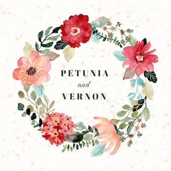 Insignia de la boda con bonita corona de flores acuarela