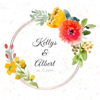Insignia de la boda con hermoso marco floral acuarela