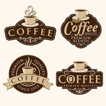 Insignia de café y etiquetas
