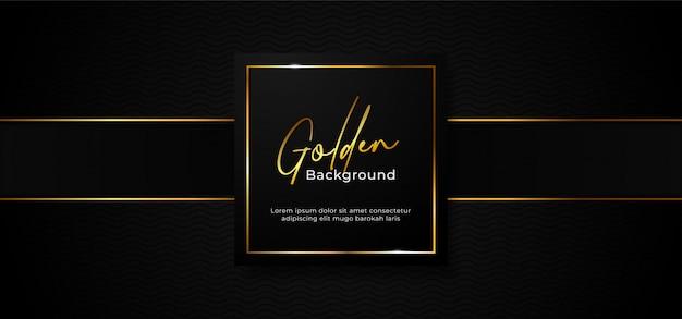 Insignia de caja de papel profesional de lujo simple con marco cuadrado dorado brillante sobre fondo negro oscuro