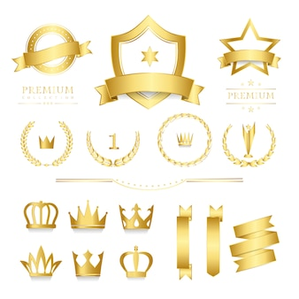 Insignia de calidad premium y colección de banners.