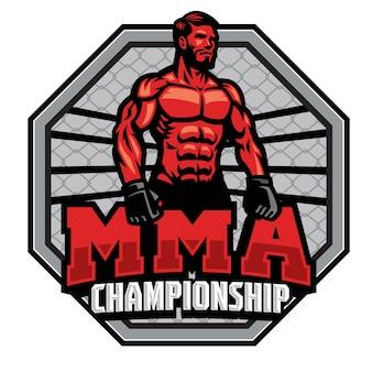Insignia del campeonato de luchador de mma aislado en blanco