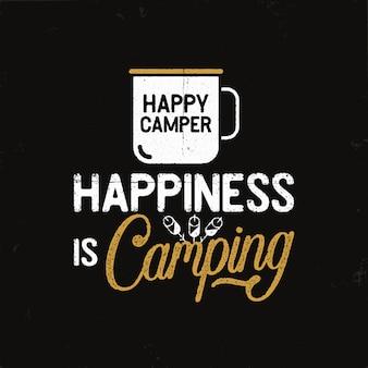 Insignia de camping vintage en estilo retro con taza y texto