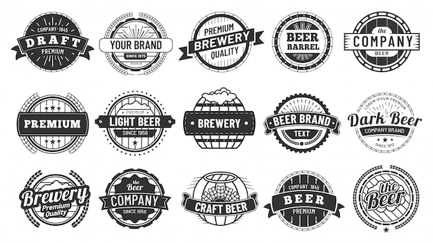 Insignia de cervecería. proyecto de emblema de barril de cerveza, insignias de círculo retro y emblemas de calidad conjunto de sellos de logotipo vintage hipster