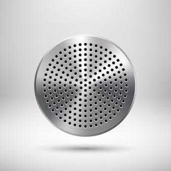 Insignia de círculo abstracto, plantilla de botón de audio con patrón de rejilla de altavoz perforado circular, textura de metal