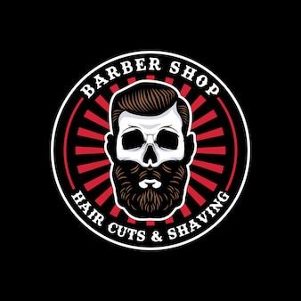 Insignia de círculo de barbería de calavera