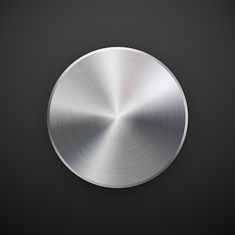 Insignia de círculo de metal, plantilla de botón en blanco con textura metálica, cromo, plata, acero