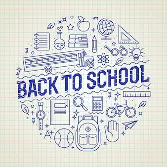 Insignia de círculo redondo de regreso a la escuela o plantilla de etiqueta o logotipo con iconos de líneas finas. funciona para carteles, volantes o pancartas escolares.