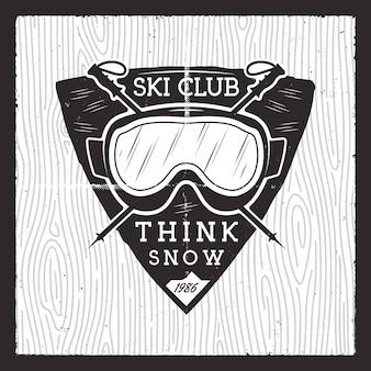 Insignia del club de esquí. tarjeta de aventura de invierno.