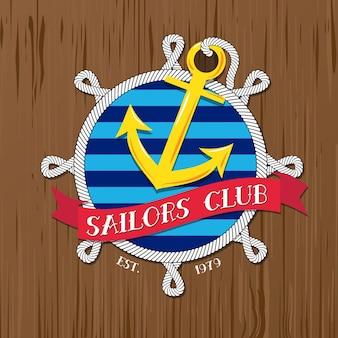 Insignia del club de marineros con cuerda y placa sobre fondo de madera