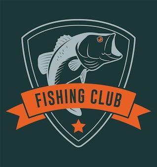 Insignia de club de pesca con cinta y pez bajo