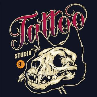 Insignia colorida de estudio de tatuaje vintage