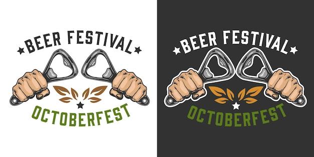 Insignia colorida del festival de la cerveza con manos masculinas sosteniendo abrebotellas en estilo vintage aislado