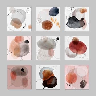 Insignia colorida de la mancha de acuarela establece vector de plantilla de anuncios sociales
