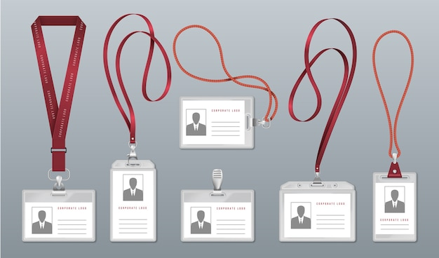 Insignia de cordón realista. etiqueta de identificación del empleado, tarjeteros de plástico en blanco con cordones para el cuello.