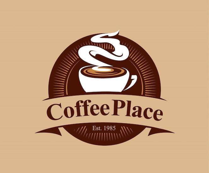 Insignia de cafetería en estilo vintage