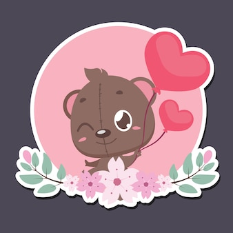 Insignia del día de san valentín con lindo oso de peluche