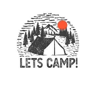 Insignia dibujada a mano con paisaje de montaña y letras