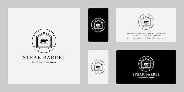 Insignia de diseño de logo vintage de barril de carne.