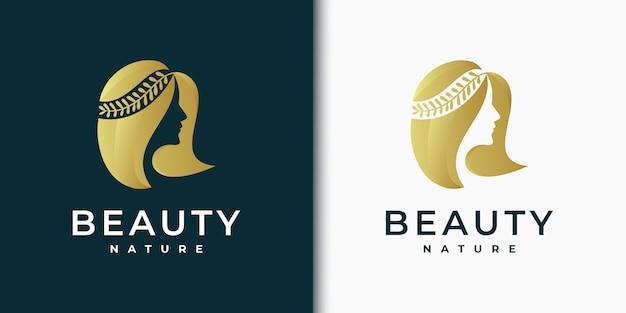 Insignia de diseño de logotipo para mujeres de belleza para el cuidado de la piel, salones y spas, con combinación de hojas