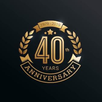 Insignia dorada de aniversario 40 años con estilo dorado