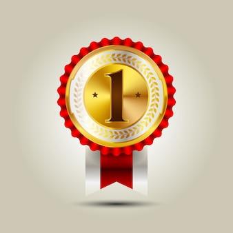 Insignia dorada de liderazgo empresarial número uno