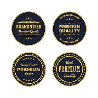 Insignia dorada y plantilla de producto de etiqueta premium