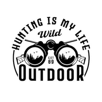 Insignia de emblema de caza y aventura binocular vintage