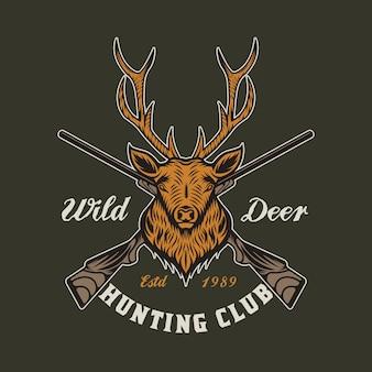 Insignia de emblema de caza y aventura de ciervos vintage
