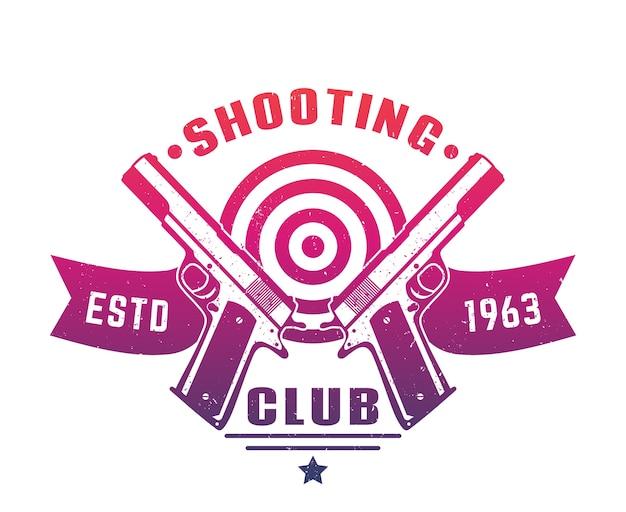 Insignia del emblema del logotipo del club de tiro con dos pistolas sobre blanco