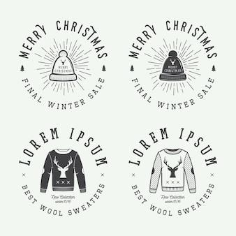 Insignia del emblema del logotipo de ventas de invierno o feliz navidad vintage