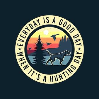 Insignia del emblema del perro del pájaro del puntero inglés del perro de caza