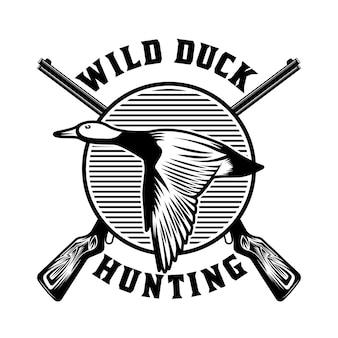 Insignia de emblema salvaje de caza de patos
