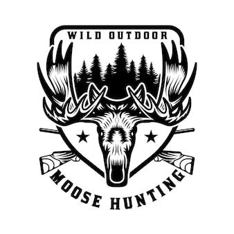 Insignia de emblema vintage de caza y aventura de alces salvajes
