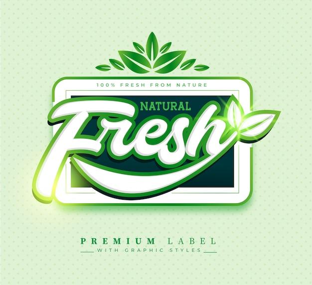 Insignia de etiqueta adhesiva fresca natural