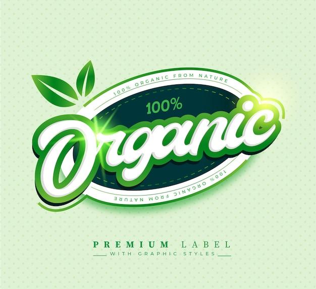 Insignia de etiqueta autoadhesiva 100% orgánica vector gratuito