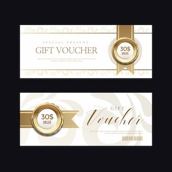 Insignia y etiquetas doradas de lujo, tarjeta de cupón