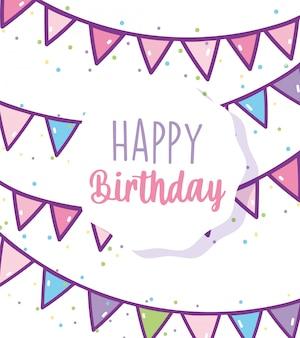 Insignia de feliz cumpleaños celebración fiesta decoración empavesados