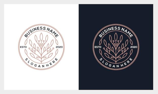 Insignia flor logo, belleza de lujo, moda, salón, spa, plantilla de logotipo de yoga