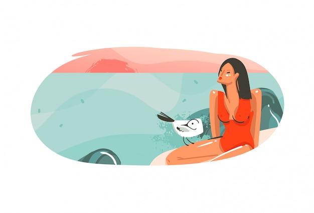 Insignia de fondo de plantilla de ilustraciones de hawaii gráfico de horario de verano de dibujos animados abstractos dibujados a mano con paisaje de playa de océano, puesta de sol y chica de belleza con lugar de espacio de copia para su diseño
